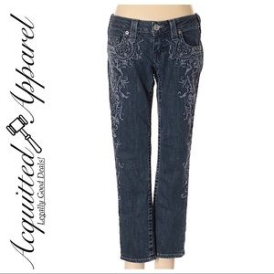 True Religion   Printed Front Boho Crop Jeans